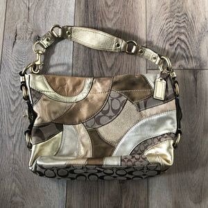 Coach Carly Gold, Bronze, Tan Patchwork Purse